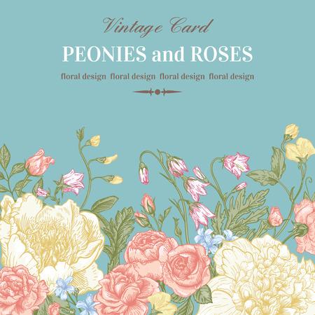 パステル カラーの夏の花と花の国境。シャクヤク、バラ、鐘。ビンテージ ベクトルの図。  イラスト・ベクター素材