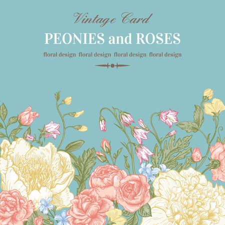 Floral border with summer flowers in pastel colors. Peonies, roses, bells. Vintage vector illustration. Ilustração