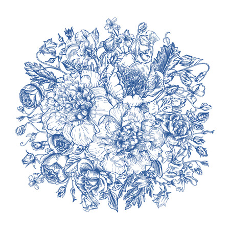 ブルーの花の花束とヴィンテージ エレガントなベクターの背景。シャクヤク、バラ、甘いエンドウ豆、ベル。ベクトルの図。