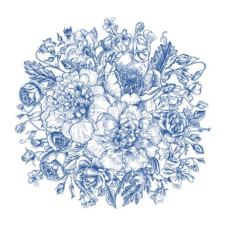 Vintage elegante vector achtergrond met een boeket bloemen in blauw. Pioenen, rozen, zoete erwten, bel. Vector illustratie. Stock Illustratie