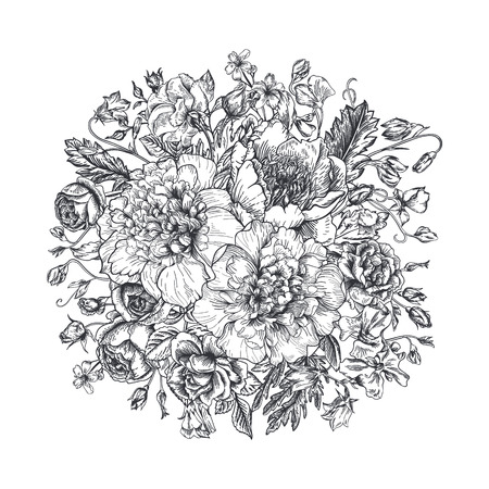 Vintage elegant vector background with a bouquet of flowers. Peonies, roses, sweet peas, bell. Black and white vector illustration. Monochrome.