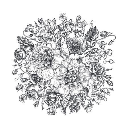 Vintage elegante vector achtergrond met een boeket bloemen. Pioenen, rozen, zoete erwten, bel. Zwart-wit vector illustratie. Monochroom. Stock Illustratie