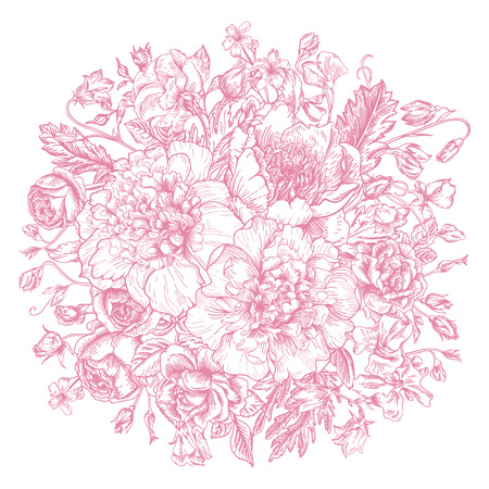 Vintage elegant vector background with a bouquet of flowers. Peonies, roses, sweet peas, bell. Vector illustration.