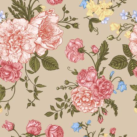 Seamless floral pattern avec bouquet de fleurs colorées sur un fond beige. Pivoines, roses, pois de senteur, Bell. Vector illustration. Vecteurs