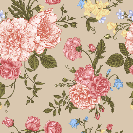 Seamless floral pattern with bouquet of colorful flowers on a beige background. Peonies, roses, sweet peas, bell. Vector illustration.