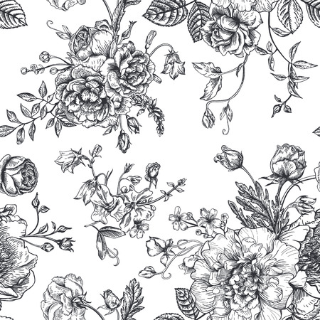 Seamless vector vintage pattern with bouquet of black flowers on a white background. Peonies, roses, sweet peas, bell. Monochrome.