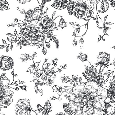 Modelo inconsútil de la vendimia del vector con el ramo de flores negras sobre un fondo blanco. Peonías, rosas, guisantes de olor, campana. Monocromo. Foto de archivo - 40447774