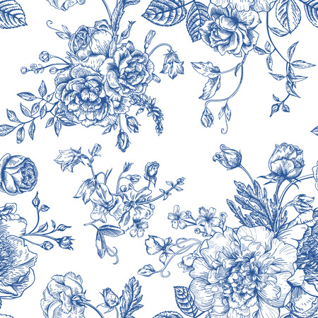 leaf line: Seamless vector vintage pattern with bouquet of blue flowers on a white background. Peonies, roses, sweet peas, bell. Monochrome. Illustration