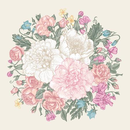 花の花束とヴィンテージ エレガントなベクターの背景。シャクヤク、バラ、甘いエンドウ豆、ベル。ベクトルの図。