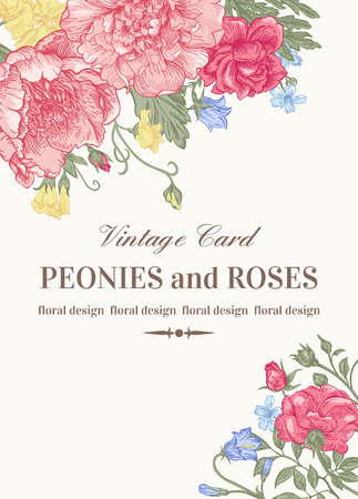 flower designs: Wedding card with roses and peonies in pastel colors on a white background.