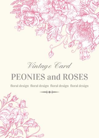 uitnodiging van het huwelijk met rozen en pioenen in roze op een witte achtergrond. Stock Illustratie