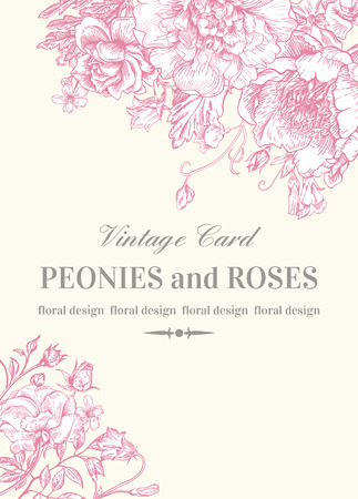 outline wedding: Wedding invitation with roses and peonies in pink on a white background.