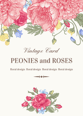 Vintage floral card with garden flowers. Peonies, roses, sweet peas, bell. Romantic background. Vector illustration. Ilustração