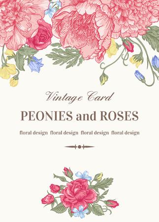 Vintage floral kaart met tuin bloemen. Pioenen, rozen, zoete erwten, bel. Romantische achtergrond. Vector illustratie. Stock Illustratie
