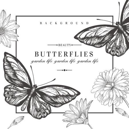 papillon: carte vectorielle avec des papillons et des fleurs. Illustration noire et blanche.