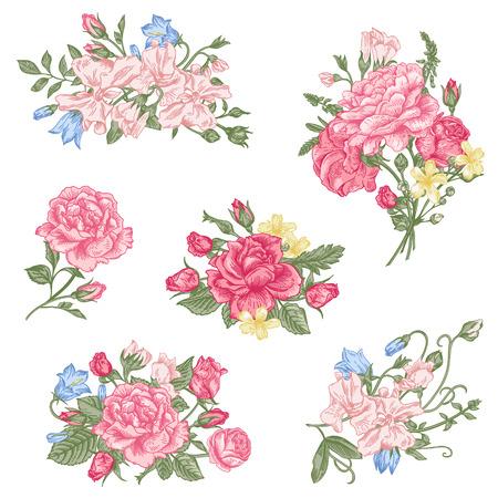 ベクターの花のデザイン要素のセットです。庭のバラ、甘いエンドウ豆、白地にパステル カラーのベルとロマンチックなブーケのコレクション。