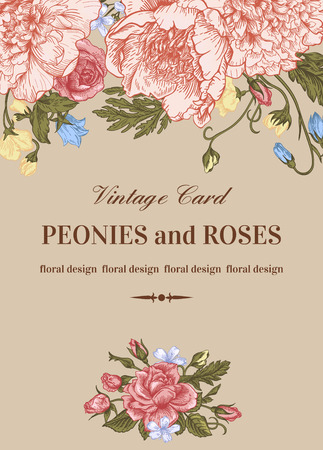 Vintage floral card with garden flowers on a beige background. Peonies, roses, sweet peas, bell. Romantic background. Vector illustration. Çizim