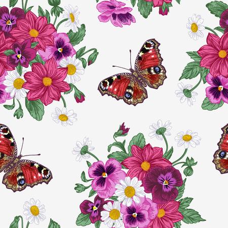 Vintage vector naadloze patroon met een boeket van bloemen en vlinders. Violet, madeliefje, dahlia.