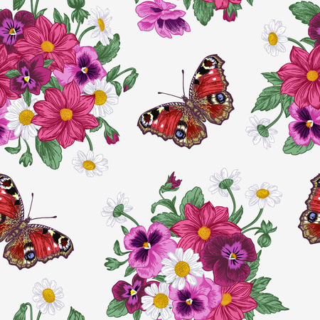 victorian pattern: Vintage vector seamless pattern with a bouquet of flowers and butterflies. Violet, daisy, dahlia.