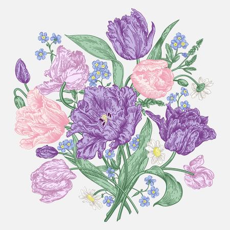 Bouquet di fiori primaverili su uno sfondo bianco in stile vintage. tulipani pappagallo, me-nots, margherite. Colori pastello. Illustrazione vettoriale. Vettoriali