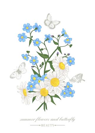 Carta di Vintage vettoriale con un mazzo di fiori colorati e farfalle. Forget-me-not e margherite.
