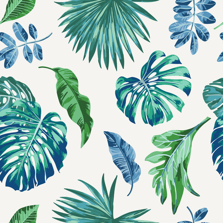 Seamless exotic pattern with tropical leaves . Vector illustration. Çizim