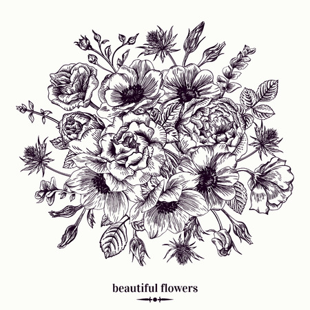 etched: Vintage card with a bouquet of flowers on a white background. Anemone, rose, eustoma, eryngium. Vector illustration. Illustration