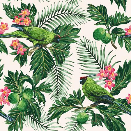 periquito: modelo tropical exótica sin fisuras con las hojas, frutos, flores y pájaros. Del árbol del pan, de palma, plumeria, loros. Ilustración del vector.