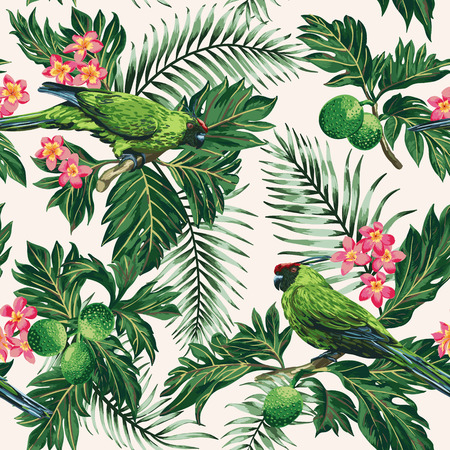 Seamless exotic tropical pattern with leaves, fruits, flowers and birds. Breadfruit, palm, plumeria, parrots. Vector illustration. Stock Illustratie