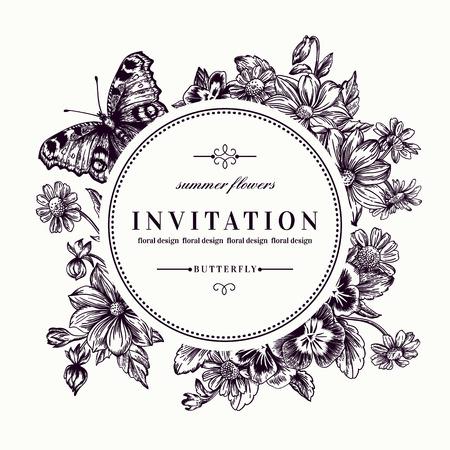 Marco redondo del vector con las flores de verano y una mariposa en el estilo vintage. Ejemplo blanco y negro. Pensamientos, margaritas, violetas. Ilustración de vector