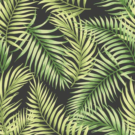 熱帯の葉でシームレスなエキゾチックなパターン。ベクトルの図。