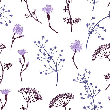 herbal background: Seamless vintage pattern with herbs, flowers and plants. Herbal background.