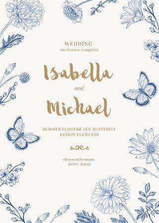 두 개의 나비와 파스텔 색상으로 꽃 벡터 카드. 로맨틱 여름 배경입니다. 애 스 터, 국화, 데이지. 일러스트
