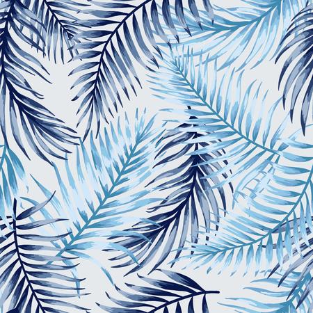 白い背景に熱帯の葉のシームレスなエキゾチックなパターン。ベクトルの図。ブルーの葉。