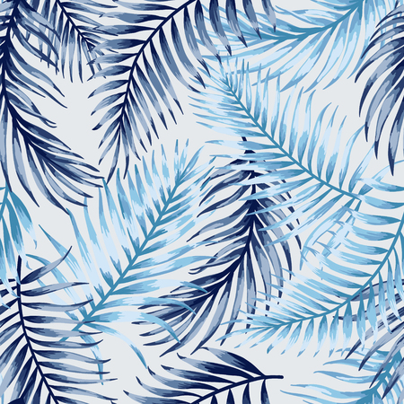 Seamless exotic pattern with tropical leaves on a white background. Vector illustration. Blue leaves. Çizim
