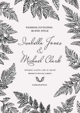 Vintage wedding invitation in a rustic style. Leatherleaf fern. Botanical vector illustration. Black and white.