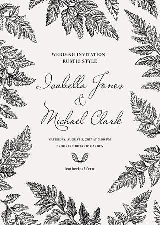 Vintage uitnodiging bruiloft in een rustieke stijl. Leatherleaf varen. Botanische illustratie. Zwart en wit.