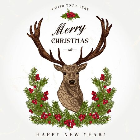 pine wreath: Vintage Christmas card. Deer and pine wreath. Merry Christmas and a Happy new year. Vector illustration.