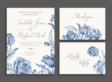 Vintage wedding set with spring flowers in blue. Wedding invitation, thank you card. RSVP card. Parrot tulips, daisies, forget-me. Botany. Vector illustration. Vettoriali