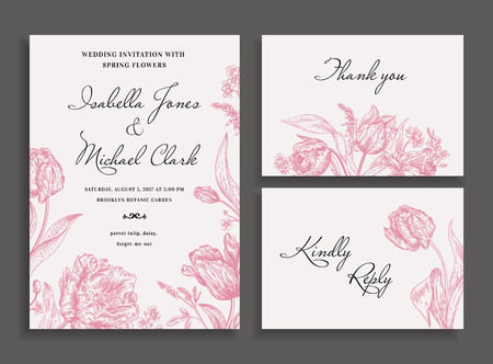 Vintage wedding invitation in a rustic style. Leather leaf fern. Botanical vector illustration. Black and white.