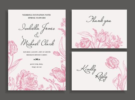Vintage bruiloft uitnodiging in een rustieke stijl. Leren bladvaren. Botanische vectorillustratie. Zwart en wit.