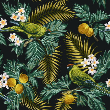 Seamless exotic tropical pattern with leaves, fruits, flowers and birds. Breadfruit, palm, plumeria, parrots. Vector illustration. Ilustracja