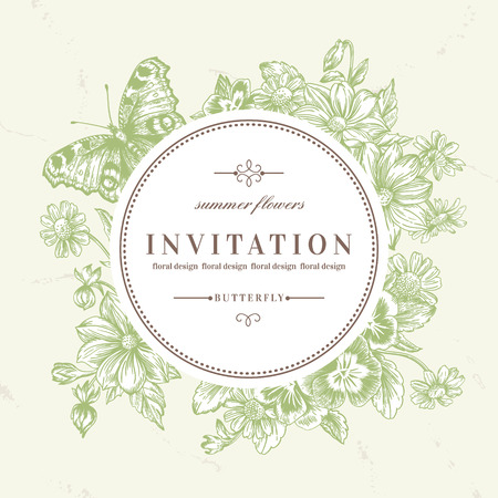 wedding invitation vintage: Vector round frame with summer flowers and a butterfly in vintage style. Pansies, daisies, dahlia. Illustration