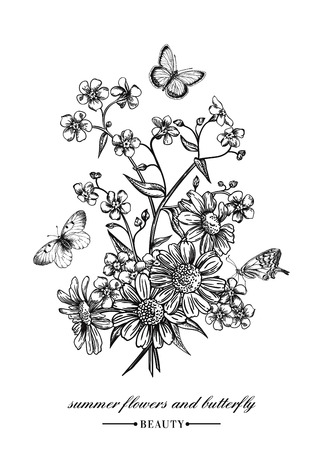Vector vintage card with a bouquet of flowers and butterflies. Forget-me-not and daisies. Black and white illustration.