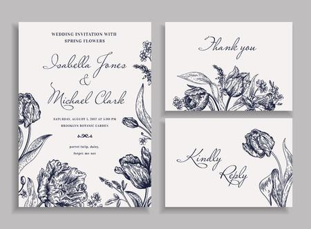 boda de la vendimia fijado con las flores de primavera en el estilo bohemio. invitación de la boda, tarjeta de agradecimiento. tarjeta de RSVP. tulipanes del loro, margaritas, nomeolvides. Botánica. Ilustración del vector. En blanco y negro.