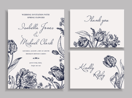Vintage wedding set with spring flowers in the bohemian style. Wedding invitation, thank you card. RSVP card. Parrot tulips, daisies, forget-me. Botany. Vector illustration. Black and white.