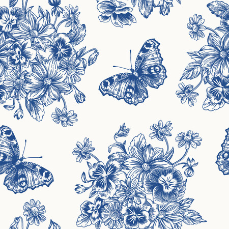 peacock butterfly: Vintage vector seamless pattern with a bouquet of flowers and butterflies in blue. Violet, daisy, dahlia.