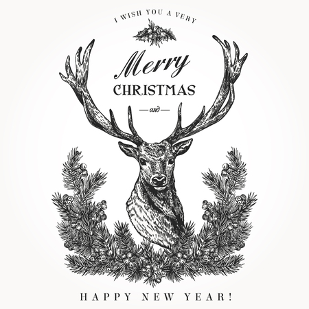 Vintage Christmas card. Deer and pine wreath. Merry Christmas and a Happy new year. Vector illustration. Black and white.
