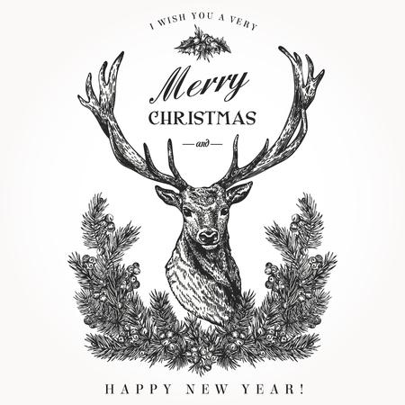 ヴィンテージのクリスマス カード。鹿と松の花輪。メリー クリスマスと幸せな新年。ベクトルの図。黒と白。
