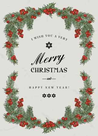 pino: Marco de la Navidad de la vendimia con ramas de pino y bayas del acebo. Ilustración del vector.
